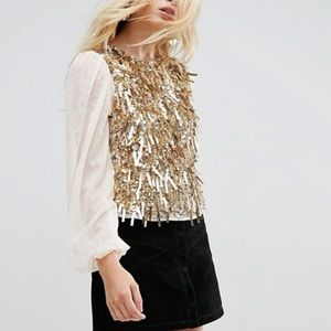 ASOS gold sequined embellished top blouse